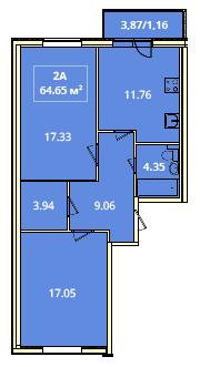 Планировка Двухкомнатная квартира площадью 64.65 кв.м в ЖК «Жилой комплекс «Гармония»»