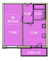 Планировка Однокомнатная квартира площадью 39.7 кв.м в ЖК «Жилой комплекс «Гармония»»