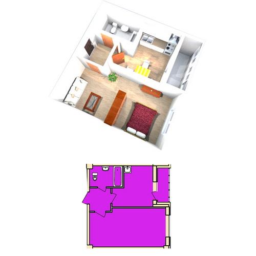 Планировка Однокомнатная квартира площадью 37.3 кв.м в ЖК «Жилой комплекс «Гармония»»