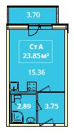 Планировка Студия площадью 23.85 кв.м в ЖК «Жилой комплекс «Гармония»»