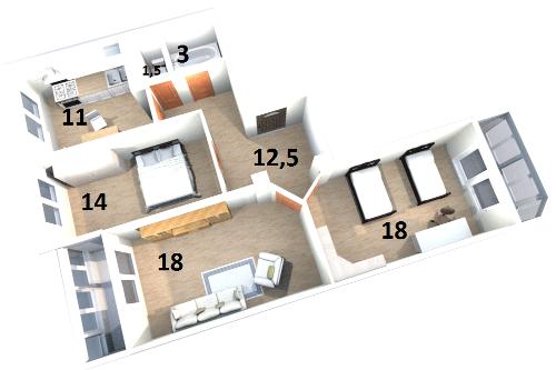 Планировка Трёхкомнатная квартира площадью 84.3 кв.м в ЖК «Жилой комплекс «Гармония»»