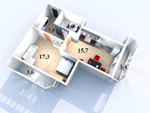 Планировка Однокомнатная квартира площадью 52.11 кв.м в ЖК «Жилой комплекс «Гармония»»