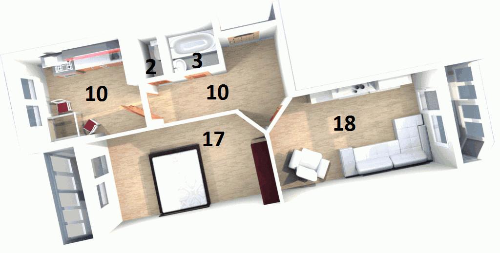 Планировка Двухкомнатная квартира площадью 64.9 кв.м в ЖК «Жилой комплекс «Гармония»»