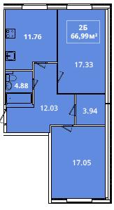 Планировка Двухкомнатная квартира площадью 66.99 кв.м в ЖК «Жилой комплекс «Гармония»»